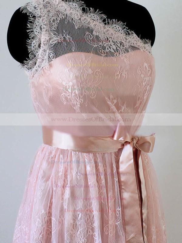 Top Short/Mini Sashes/Ribbons One Shoulder Pink Lace Bridesmaid Dress #DOB01012490