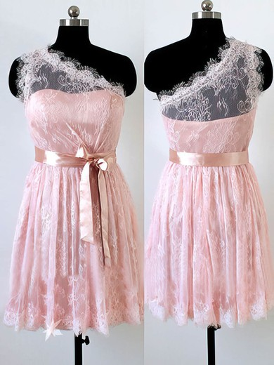Top Short/Mini Sashes/Ribbons One Shoulder Pink Lace Bridesmaid Dress #DOB01012490