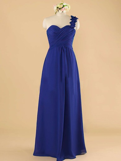 Royal Blue Chiffon Ruffles One Shoulder A-line Wholesale Bridesmaid Dress #DOB01012492