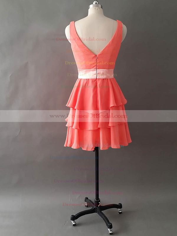 Custom V-neck Tiered Watermelon Chiffon Short/Mini Bridesmaid Dresses #DOB01012495