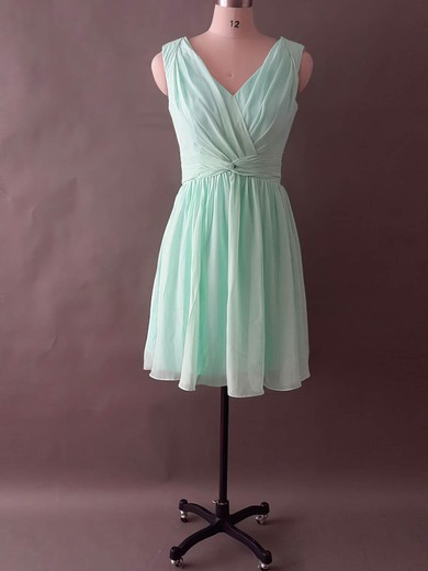 Amazing Sage Chiffon Ruffles V-neck Knee-length Bridesmaid Dress #DOB01012496