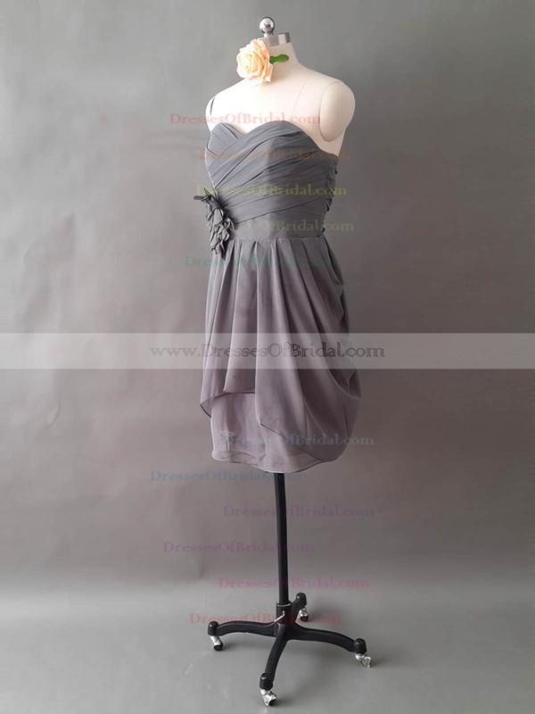A-line Sweetheart Chiffon Ruffles and Flower(s) Short/Mini Cheap Bridesmaid Dresses #DOB01012497