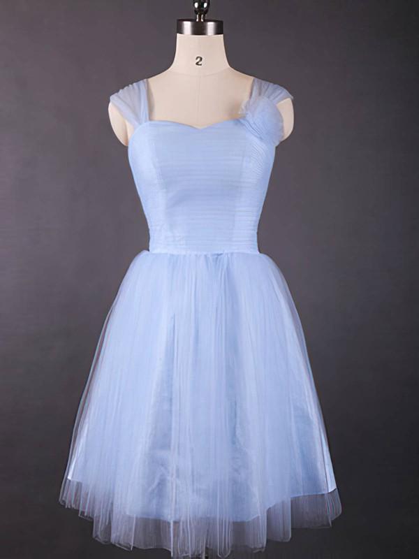 Good Knee-length Light Sky Blue Tulle Ruffles Sweetheart Bridesmaid Dresses #DOB01012498