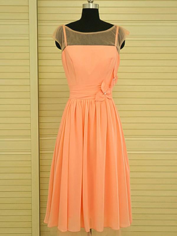 Scoop Neck Knee-length Flower(s) Orange Chiffon Nice Bridesmaid Dress #DOB01012499