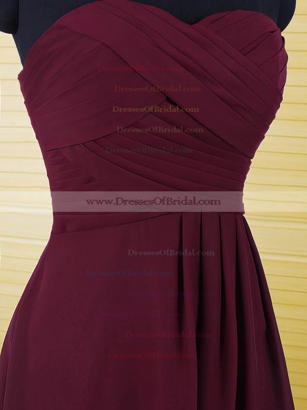 Sweetheart Grape Chiffon with Ruffles A-line Beautiful Bridesmaid Dresses #DOB01012500