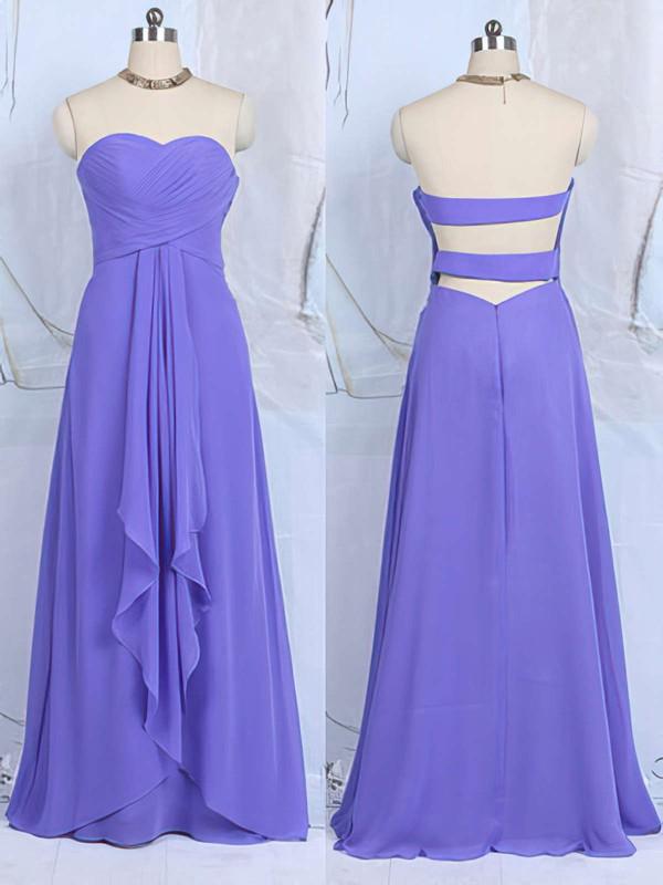 Cheap Sweetheart Ruffles Chiffon Floor-length Lavender Bridesmaid Dresses #DOB01012502
