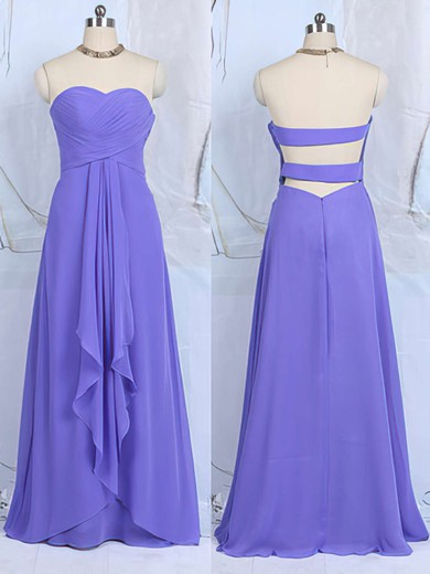 Cheap Sweetheart Ruffles Chiffon Floor-length Lavender Bridesmaid Dresses #DOB01012502