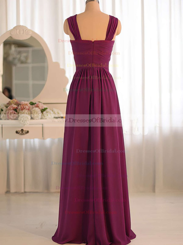 A-line Grape Chiffon with Criss Cross V-neck Junior Bridesmaid Dress #DOB01012503