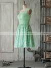 One Shoulder Ruffles Backless Sage Lace Short/Mini Bridesmaid Dress #DOB01012505