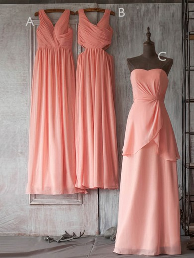 Modest Watermelon Chiffon Ruffles Floor-length V-neck Bridesmaid Dresses #DOB01012506