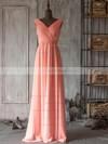 Modest Watermelon Chiffon Ruffles Floor-length V-neck Bridesmaid Dresses #DOB01012506