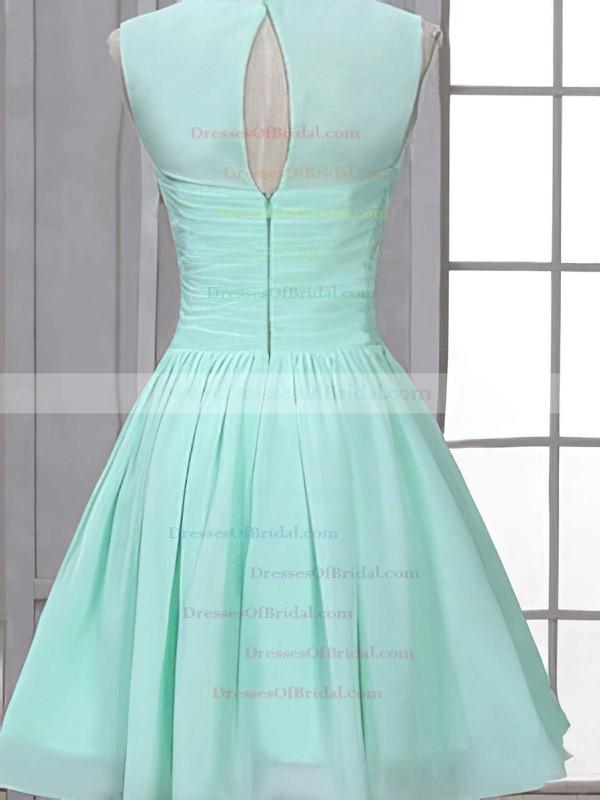Short/Mini Scoop Neck Ruffles Chiffon Vintage Bridesmaid Dress #DOB01012507
