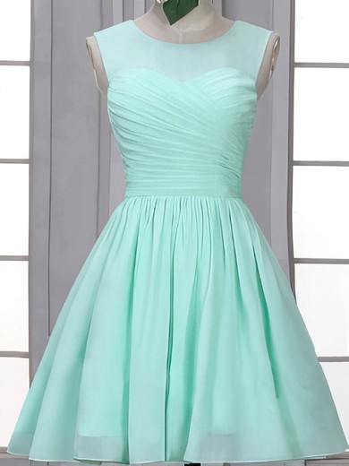 Short/Mini Scoop Neck Ruffles Chiffon Vintage Bridesmaid Dress #DOB01012507