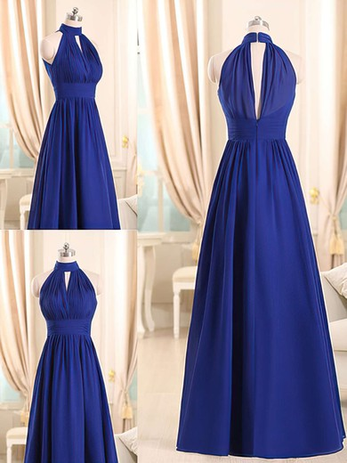 Designer Halter Royal Blue Chiffon Ruffles Long Bridesmaid Dresses #DOB01012508