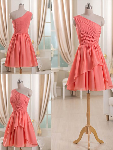 Watermelon Chiffon with Ruffles Short/Mini Unique One Shoulder Bridesmaid Dress #DOB01012509