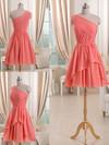 Watermelon Chiffon with Ruffles Short/Mini Unique One Shoulder Bridesmaid Dress #DOB01012509