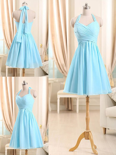 Best Light Sky Blue Chiffon Ruffles Short/Mini Halter Bridesmaid Dresses #DOB01012510
