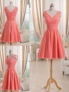 V-neck Short/Mini Watermelon Pleats Chiffon Elegant Bridesmaid Dress #DOB01012511