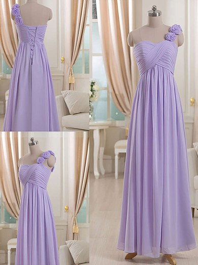 One Shoulder Lilac Chiffon Flower(s) Lace-up Empire Bridesmaid Dresses #DOB01012512