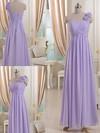 One Shoulder Lilac Chiffon Flower(s) Lace-up Empire Bridesmaid Dresses #DOB01012512
