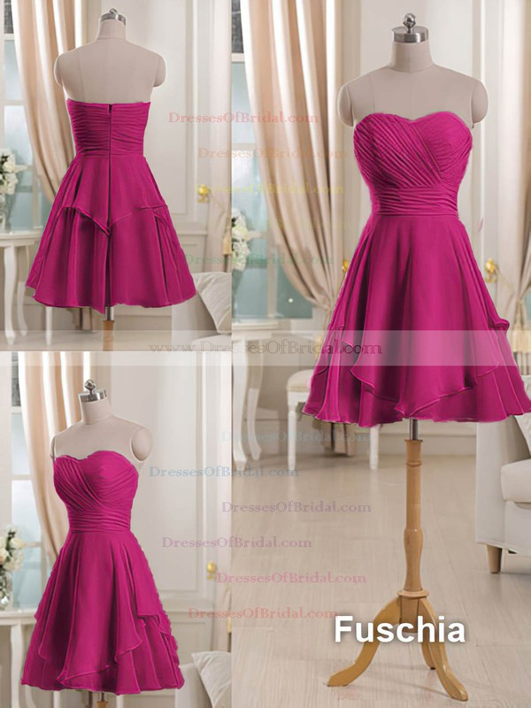 Sweetheart Short/Mini Ruffles Pink Chiffon Bridesmaid Dresses #DOB01012513