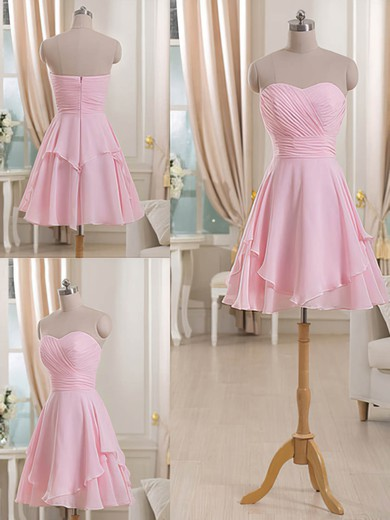Sweetheart Short/Mini Ruffles Pink Chiffon Bridesmaid Dresses #DOB01012513