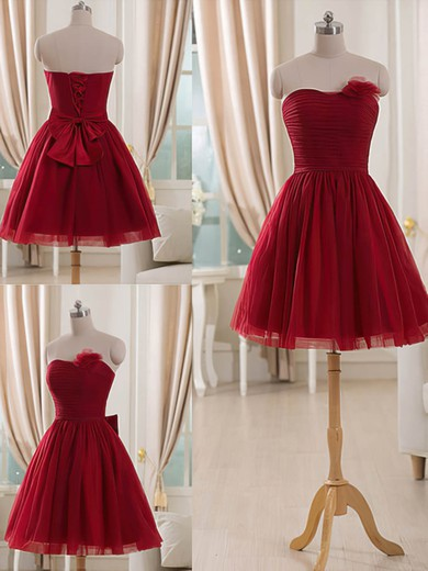 Burgundy Tulle Short/Mini Flower(s) Strapless Bridesmaid Dresses #DOB01012514