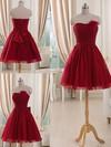 Burgundy Tulle Short/Mini Flower(s) Strapless Bridesmaid Dresses #DOB01012514