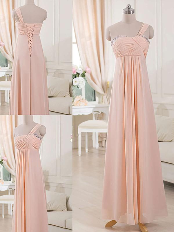 One Shoulder Chiffon Lace-up Sheath/Column Bridesmaid Dresses #DOB01012515