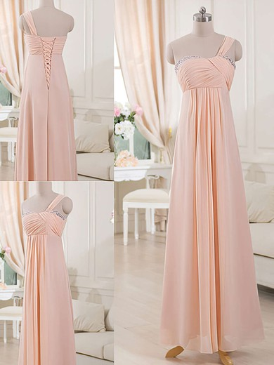 One Shoulder Chiffon Lace-up Sheath/Column Bridesmaid Dresses #DOB01012515