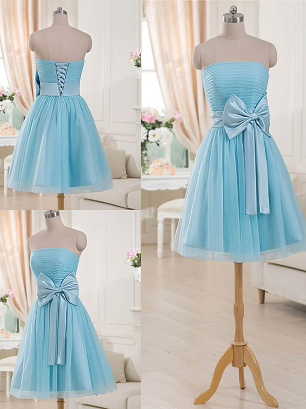 Strapless Bow Lace-up Short/Mini Blue Tulle Bridesmaid Dresses #DOB01012516