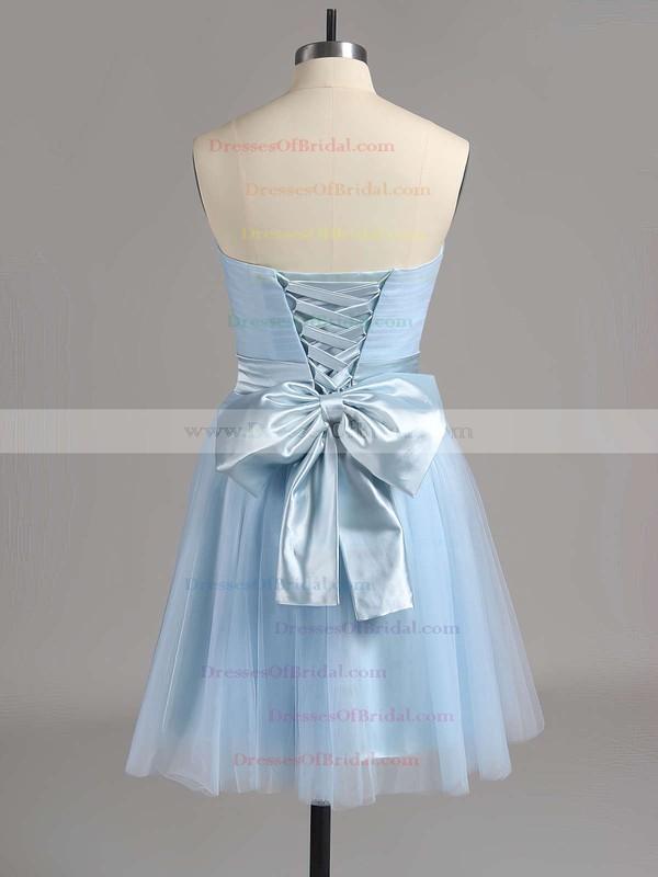 Cute Lilac Tulle Sashes/Ribbons Short/Mini Strapless Bridesmaid Dresses #DOB01012517