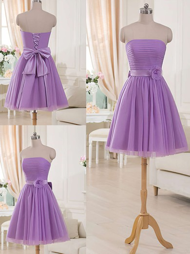 Cute Lilac Tulle Sashes/Ribbons Short/Mini Strapless Bridesmaid Dresses #DOB01012517