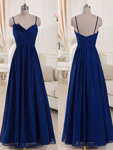 V-neck Royal Blue Chiffon Spaghetti Straps Ruffles Floor-length Bridesmaid Dresses #DOB01012518