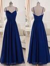 V-neck Royal Blue Chiffon Spaghetti Straps Ruffles Floor-length Bridesmaid Dresses #DOB01012518