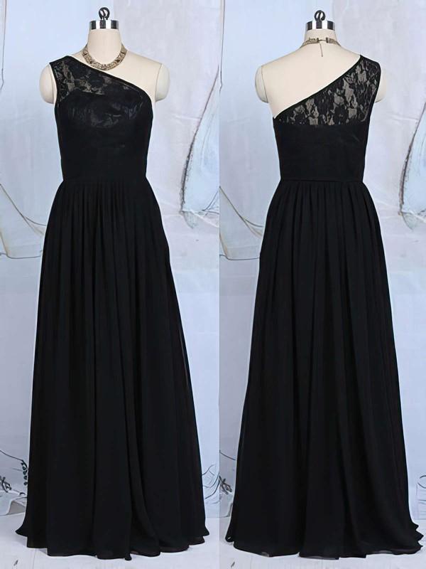 Floor-length Black Lace Ruffles Chiffon One Shoulder Bridesmaid Dresses #DOB01012520