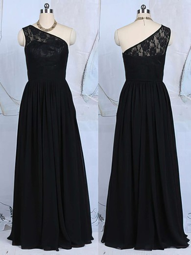 Floor-length Black Lace Ruffles Chiffon One Shoulder Bridesmaid Dresses #DOB01012520