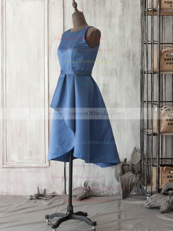 Scoop Neck Dark Navy Satin Sashes/Ribbons Knee-length Bridesmaid Dress #DOB01012521