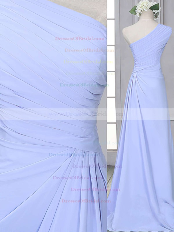 Lavender Chiffon One Shoulder Ruffles Sheath/Column Bridesmaid Dress #DOB01012522