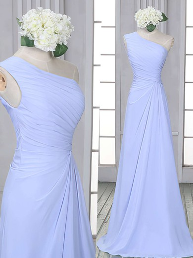 Lavender Chiffon One Shoulder Ruffles Sheath/Column Bridesmaid Dress #DOB01012522
