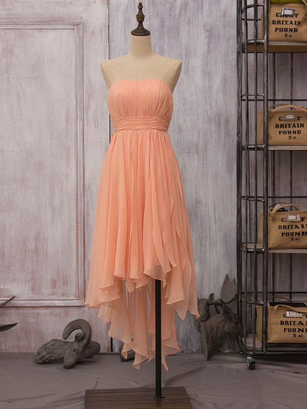 Strapless High Low Orange Chiffon Ruffles Sheath/Column Bridesmaid Dress #DOB01012523