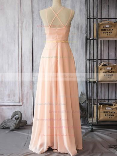 Pearl Pink Chiffon Spaghetti Straps Sheath/Column V-neck Bridesmaid Dress #DOB01012524