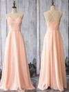 Pearl Pink Chiffon Spaghetti Straps Sheath/Column V-neck Bridesmaid Dress #DOB01012524