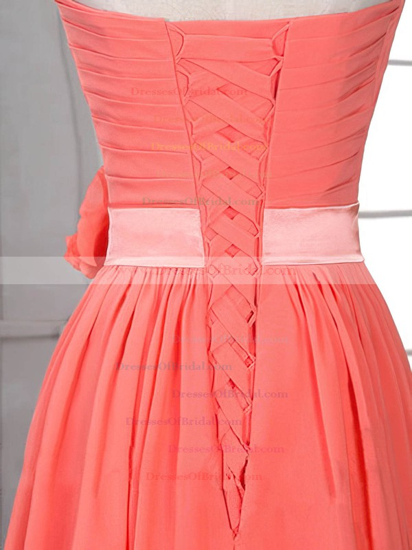 Sheath/Column Flower(s) Lace-up Watermelon Chiffon Sweetheart Bridesmaid Dress #DOB01012526