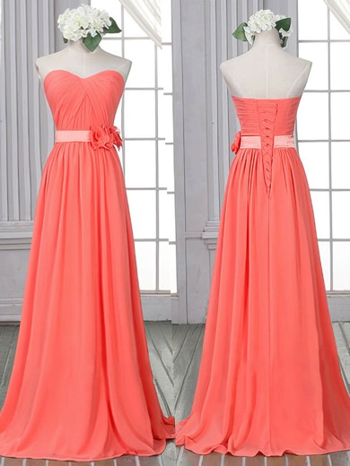 Sheath/Column Flower(s) Lace-up Watermelon Chiffon Sweetheart Bridesmaid Dress #DOB01012526