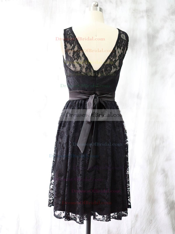 Ladies Black Lace Knee-length Sashes/Ribbons Scoop Neck Bridesmaid Dress #DOB01012527