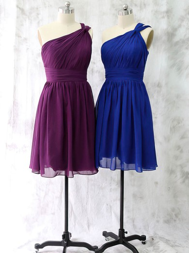 Girls One Shoulder Ruffles Short/Mini Royal Blue Chiffon Bridesmaid Dress #DOB01012528