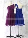 Girls One Shoulder Ruffles Short/Mini Royal Blue Chiffon Bridesmaid Dress #DOB01012528