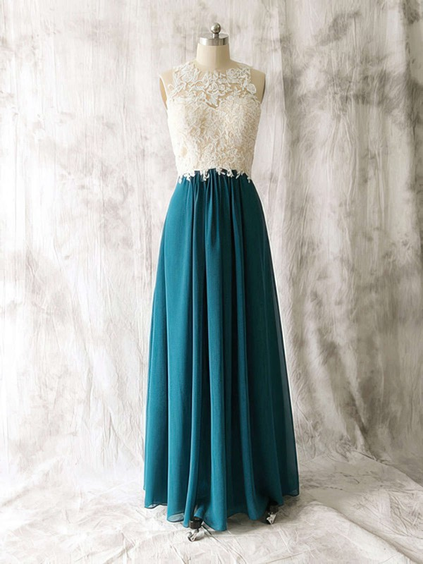 Amazing Multi Colours Chiffon Tulle Appliques Lace Scoop Neck Open Back Bridesmaid Dress #DOB01012529
