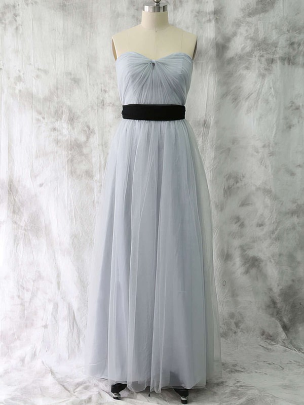 Ladies Sweetheart Tulle Sashes/Ribbons A-line Bridesmaid Dress #DOB01012530